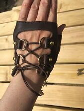 Real Leather Laced Fingerless Gloves In Chocolate Brown