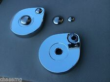Mgb gt , mgc gt rear tailgate chrome hinge covers inc new fixing buttons Bay4-b8