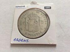 1 pièce en argent de 5 pesetas Espagne - 1891 - Alfonso XIII
