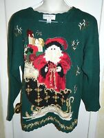 Tacky Ugly Christmas Sweater CARLY ST. CLAIRE Pine Green Santa Claus Sleigh SZ M