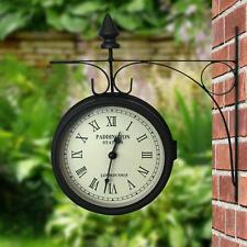 OUTDOOR GARDEN PADDINGTON STATION OUTSIDE BRACKET WALL CLOCK 15CM DOUBLE SIDED