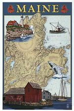 The State of  Maine Nautical Chart Lighthouse Boat Whale etc Modern Map Postcard