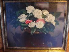 PHYLLIS DODD, CAMELLIAS IN SUNLIGHT, SIGNED, OIL ON CANVAS, GILT FRAME, 1946
