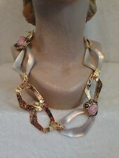 ALEXIS BITTAR WARM GRAY TAUPE LUCITE & GOLD LINK NECKLACE with LIGHT PINK CORAL