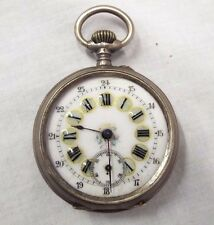 Beautiful OLD Antique FRENCH POCKET WATCH Coin Silver 800 Open CASE Enamel DIAL