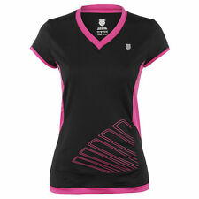 WOMEN'S K-SWISS BIG SHOT CAP SLEEVE TOP - BLACK/VIOLET -  SIZE SMALL - 10 *NEW*