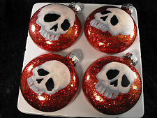 Skull Heads Decorated Glass Christmas Ornaments - Set of 4
