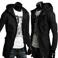 Mens Military Style Zipper Hooded Coat Slim Warm Jacket Overcoat Parka Outerwear