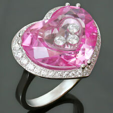 2000s CHOPARD Happy Diamond Pink Quartz 18K White Gold Heart Ring $10000