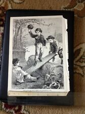 K3-7 Ephemera Book Plate 1896 Children On A See Saw