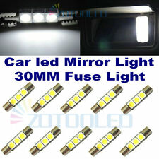 10x Xenon White 3-SMD Car Sun Visor Vanity Mirror Light 6641 LED fuse Bulbs 30MM
