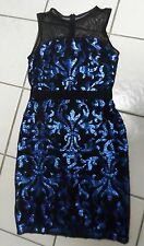 {NWT} THE LIMITED Sexy Mesh Blue Sequin Black Mesh Bow Dress ~ MSRP: $125.00 ~ M