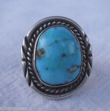Classic Vintage NAVAJO Sterling Silver & Easter Blue Turquoise RING, size 6.75