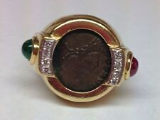 HEAVY 18K YELLOW GOLD DIAMONDS RUBY EMERALD COIN RING SIZE