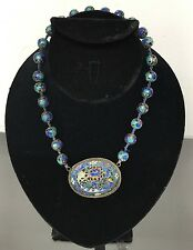 Marvelous Antique Chinese Enamel Silver Necklace With Beautiful Enamel Beads