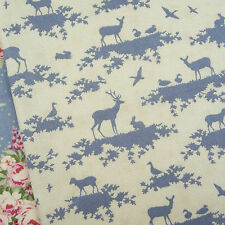 Tilda Autumn Tree Forest Slate Blue Fabric / quilt cream deer stag dressmaking