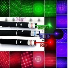 USA Stock 5mw 6in1 Red + Green + Blue Violet Laser Pointer Pen Lazer+ Star Caps