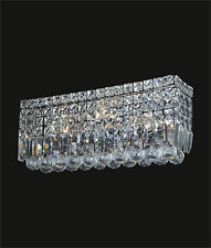 """Clear CRYSTAL Contemporary WALL SCONCE (W18""""x H6.5"""" E4.5"""") with 4 Lights, Prisms"""
