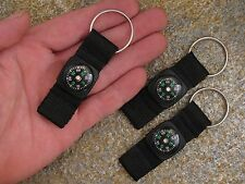 3 Black Mini Compass Nylon Strap Keychains Camping Hiking Survival Gear EDC Gift
