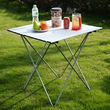 Aluminum Roll Up Table Folding Camping Outdoor Indoor Picnic W/ Bag Heavy D