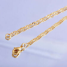 18.1inches Long Necklace 24k yellow gold Filled Womens mens water chain Necklace
