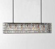 "POTTERY BARN Adeline Crystal GRAND (50"") Rectangular Chandelier, NEW IN BOX"