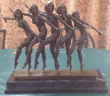 HUGE Signed D H Chiparus  5 Dancers Art Deco Sculpture  Marble Bronze
