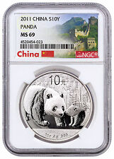 2011 China 10 Yuan 1 oz. Silver Panda NGC MS69 (Exclusive Great Wall)  SKU24205