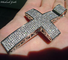 MENS $279 14K WHITE GOLD WGP SIMULATED DIAMOND HIP HOP JESUS PIECE CROSS PENDANT