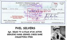 PHIL SILVERS  Sgt. BILKO  TV FILM STAR ACTOR  HAND SIGNED BANK CHECK   RARE ITEM