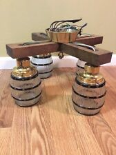 Vintage 4 Barrel Light Wooden Chandelier Ceiling Light Fixture Bar Decor