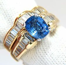 GIA Certified 4.70ct natural no heat sapphire diamond ring & band unheated