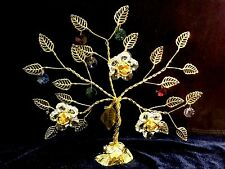 24K Gold plated Swarovski Crystal Element Tree With Flowers Table Top Display