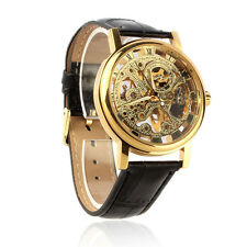 Mens Luxury Mechanical Watch Skeleton Watch Leather Strap Dress Wrist Watch Gold