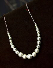Elegant 18k White Gold Plated Bridal Wedding White Pearl Necklace N296