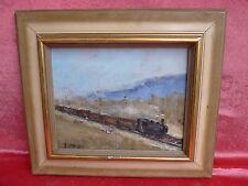 Sublime,ancien Tableau__Train dans la paysage__locomotive à vapeur__Signé