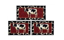 Cow 3 Piece Rug Set Kitchen Mat Non Skid Sink Farm Country Throw Home Decor