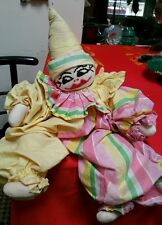 VINTAGE FOLKART HANDMADE MULTICOLOR EMBROIDERY SOCK CLOWN DOLL PLUSH TOY UNIQUE