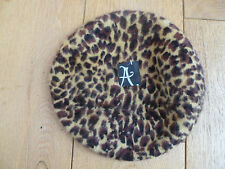 MONSOON ACCESSORIZE 48% ANGORA RICH BLEND BROWN BEIGE LEOPARD PRINT BERET HAT