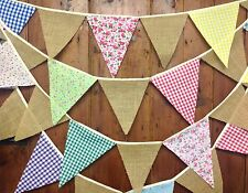 Traditional bunting floral and gingham flags & hessian, 5 meters 29 flags