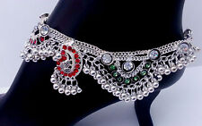 Indian Bridal Jewelry Belly Dance Anklet Bracelet Silver Plated Multistone Payal