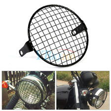 "1Pc Motorcycle Bike Grill Side Mount Headlight Lamp Cover Mask 6.3"" Durable"