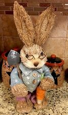 "Easter Bunny Boy Garden Rabbit Basket Egg Decor 13"" Spring Wreath Pick Chocolate"