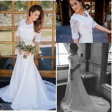 Modest Western Country Lace Wedding Dress Half Sleeve Vintage Bridal Gown Custom