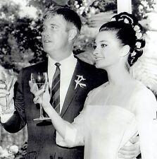 1966 UPI Wire Photo wedding toast actress Elizabeth Ashley actor George Peppard