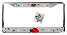 Ladybugs License Plate Frame Personalized Gifts Polished Metal Silver Add Text