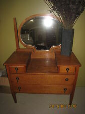 DRESSING TABLE ANTIQUE SOLID OAK WITH OVAL BEVELLED TILTING MIRROR 4 DRAWERS