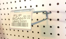 (50 PACK) 8 Inch Flip Scan Metal Peg Hooks with Label Holder 3/16 & 1/4 Pegboard