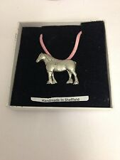 Heavy Horse E05 Horse  Motif Pewter  PENDENT ON A PINK CORD Necklace