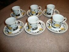 Lot of 6 QA WAS MI Tea or Coffee Cups & Saucers White Black Yellow GUC